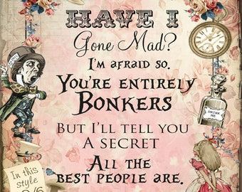 Fridge magnet - Bonkers Alice in Wonderland for refrigerator