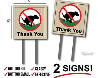 2 Signs, No Pooping, Dog Poop Yard Sign, Thank You
