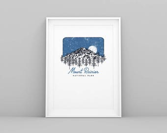 "Limited Edition Mount Rainier National Park 9"" x 12"" Screen Print"