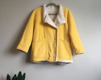 Mellow Yellow women's vintage faux shearling jacket • Vintage • Shearling • Vintage Jacket • Women's Jacket • 1970's • 1980's • Cute •