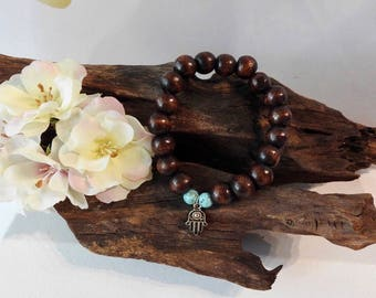 Natural Turquoise Howlite & Wooden Bead healing gemstone stretch bracelet with Hamsa Charm