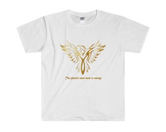 MenS Fitted Short Sleeve Tee With Slogan Phoenix Must Burn To Emerge