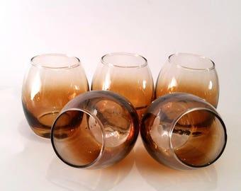 Set of 5 Amber Drinking Glasses - Vintage Barware Set - 1970s 1980s Glassware Set - Home Bar