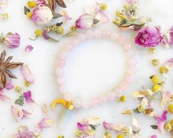 Quartz rose, Pierre de lune + Bracelet Luna