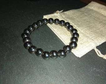 10mm Non Magnetic Synthetic Hematite Stretch Cord Bracelet