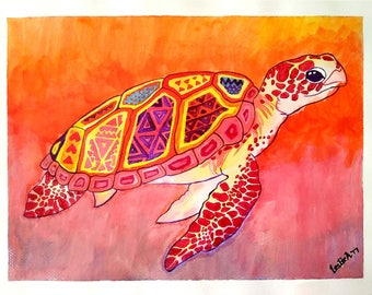 BEAUTIFUL TURTLE - 9in x 12in (22.86cm x 30.48cm) - Acrylic on Paper - Animal, Abstract Art Original Painting by LeslieA.