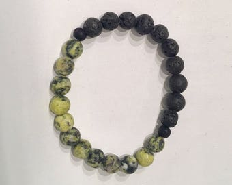 Yellow Turquoise and Lava Stone Stacker