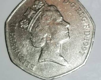 1997 Queen Elizabeth ll 50 Pence Coin