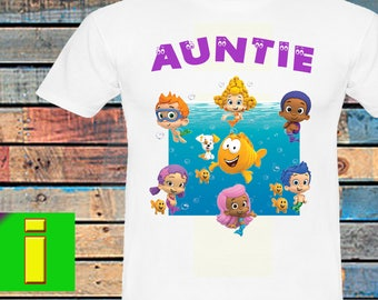 Auntie,Bubble Guppies Iron On Transfer,Bubble Guppies Birthday Shirt Iron On Transfer,Bubble Guppies Birthday Party Shirt,Instant Download