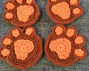 Crochet Paw Coaster