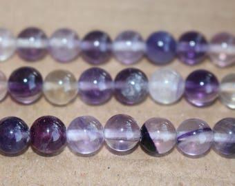 15 Inches Full strand,Natural Genuine Purple Fluorite Gemstone smooth round beads 6mm 8mm 10mm ,loose beads,semi-precious stone