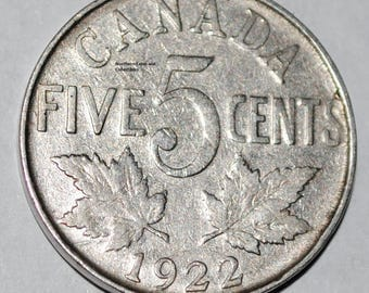 Canada 1922 5 Cents George V Canadian Nickel