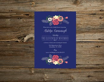Floral Bridal Shower Invitation/Floral Bridal Shower Invitation/Bridal Shower Invitation