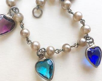 Cute Vintage Faux Pearl and Heart Bead bracelet
