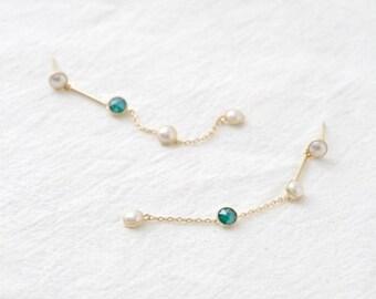 green stone drop earring