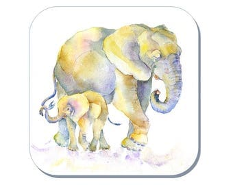 Hand Painted Elephant Coaster (Corked Back) - from an original Sheila Gill Watercolour Painting