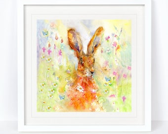 Spring Hare - Hare Print, Wildlife Print. Printed from an Original Sheila Gill Watercolour. Fine Art, Giclee Print, Hand Painted,Home Decor