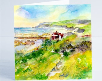 Robin Hoods Bay North Yorkshire - Greeting Card by Sheila Gill
