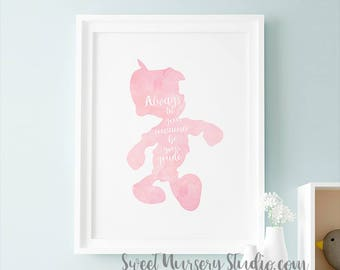 Girls Princess Art Pinocchio Wall Decor, Disney Pinocchio Printable Digital Always Let Your Conscience Be Your Guide, Pink Shower Disney