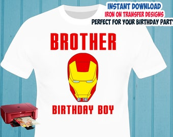 Iron Man Iron On Transfer , Brother Birthday Shirt Iron On Transfer , Digital Files , PNG , High Resolution , Instant Download