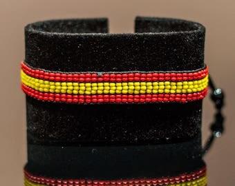 Spanish Flag Bracelet | Maasai Beaded Bracelets | Flag of Spain | Spanish Flag Wrist Band