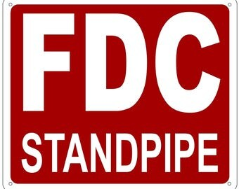 Fdc Standpipe Sign - (Aluminium Reflective , Red 10x12)