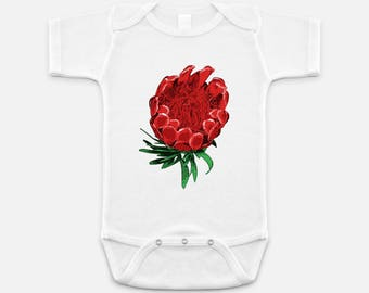 Australian Native Floral Print - Baby Onesie - 3-6 months - 6-12 months - 12-18 months - King Protea