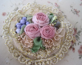 "Brooch ""Roses and blueberries"""