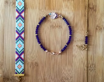 Handmade Bohomian Bracelets Miyuki Delica 3 Pcs Set Beaded Dainty Gemstone Gift for Sister, Daughters, Girlfriend, Mothers