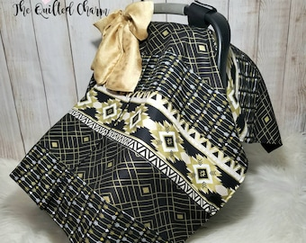Black and gold car seat canopy, girls car seat canopy, car seat cover, baby shower gift,peekaboo canopy