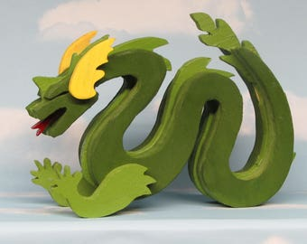 Green Wooden Lindworm Dragon