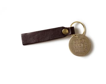 Good Vibes Only Brass Keytag