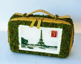 Moss-covered purse with Paris postcard & steamship labels