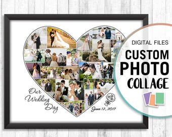 Heart Photo Collage, Custom Heart Collage, Wedding Photo Collage, Wedding Collage Print, Personalized Wedding Photo, Photo Collage Heart