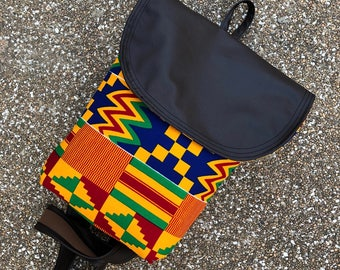 Kente Leather Backpack