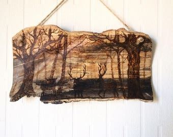 Woodland, driftwood art, pyrography wall art