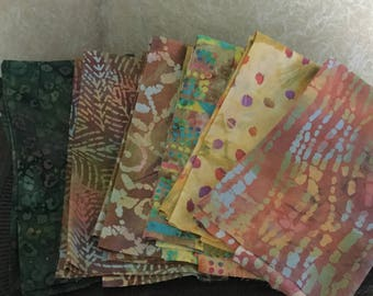 "Fat Quarters - ""Tropical Harmonies"" - (6) 18"" x 22"" - Bali Batiks"