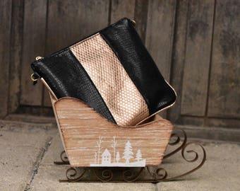 Bronze/Black Leather Clutch