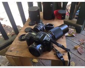 Minolta Maxim 3XI Film Camera plus 3 Additional Lenses