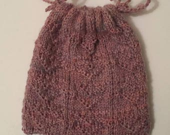 Hand knitted Heart gift bag