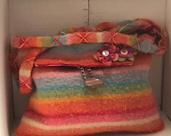 Muti Colored Hand Felted/Hand Dyed Shoulder Bag