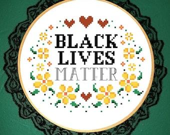 Black lives matter cross stitch pattern *PATTERN ONLY* pdf instant download