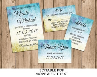 Floral wedding invitation template Blue wedding invite set Boho wedding invitation printable Rustic wedding invitation editable DIGITAL