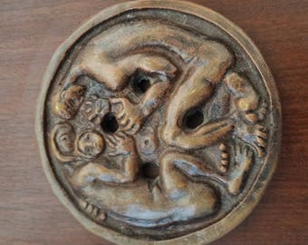 Antique, Hand Made ,Art,Signed,Art Work,Wood,Erotic Old Bronze Wall Decoration