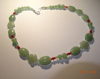 Necklace Aventurine & Natural Coral -Quality France-clasp Silver 925 stamped