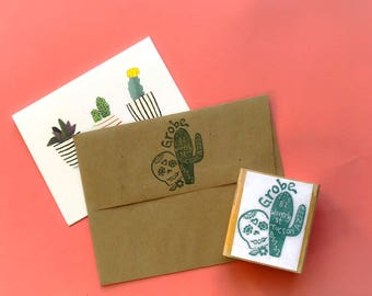Day of the Dead hand carved customized return address stamp