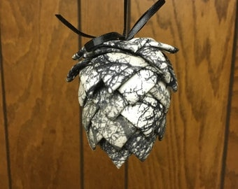 Black & Gray Pinecone Fabric Ornament