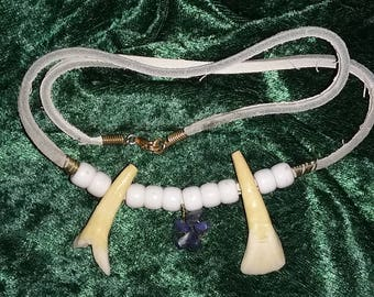 Buffalo tooth and Sodalite necklace