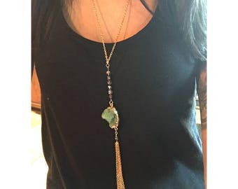 Green & Gold Tassel Necklace