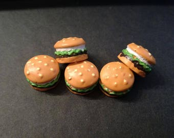 "Set of 5 cabochons ""Burger"""
